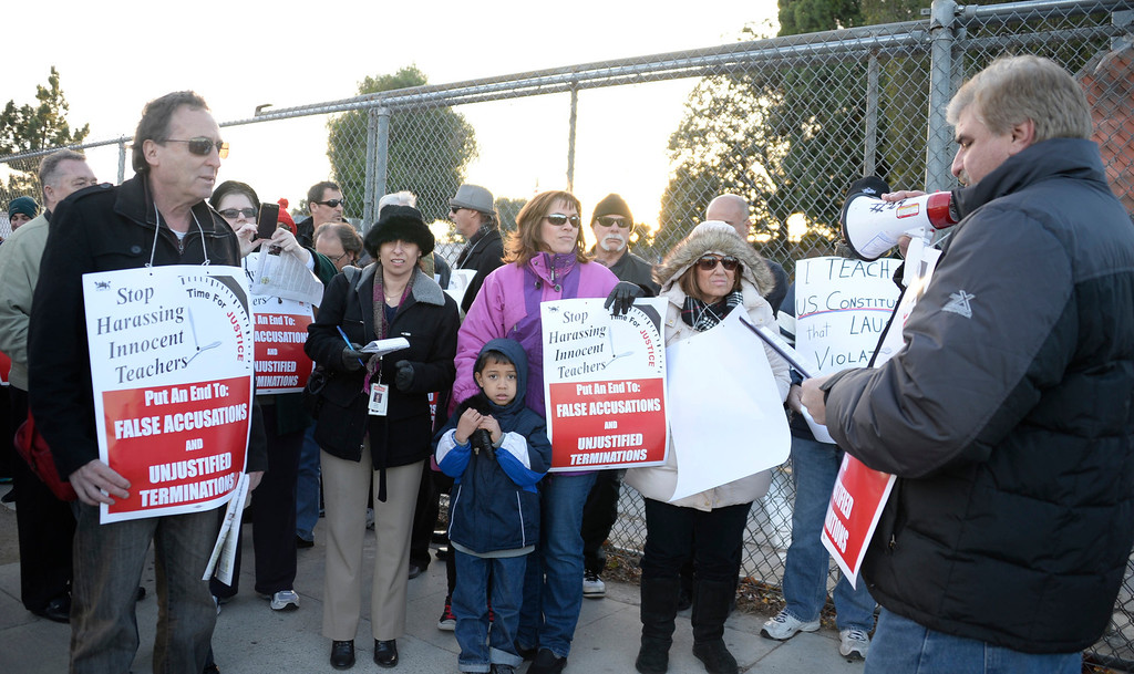 """. Dec 9,2013. Van Nuys.  Teachers pulled from the classroom because of alleged misconduct will hold a vigil outside the LAUSD offices where they\'re housed -- a facility they call \""""teacher jail.\"""" The educators want to draw attention to what they claim is an unfair and unwieldy disciplinary system. Photo by Gene Blevins/LA DailyNews"""