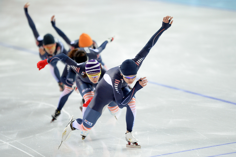 . South Korean speed skaters participate in a training session at the Adler Arena Skating Center during the Sochi Winter Olympics on February 8, 2014. (JUNG YEON-JE/AFP/Getty Images)