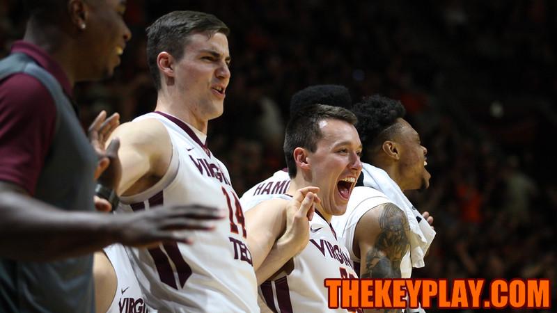 Greg Donlon and Matt Galloway celebrate another big Virginia Tech basket late in the second half. (Mark Umansky/TheKeyPlay.com)