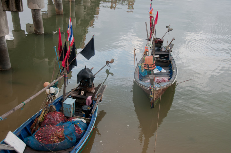 Small fishing boats with flags spotted in Ko Samui, Thailand