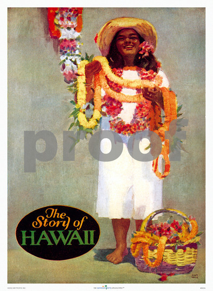 083: 'The Story of Hawaii' John Kelly Illustration for book cover, ca. 1945. Watermark PROOF does not appear on your print.