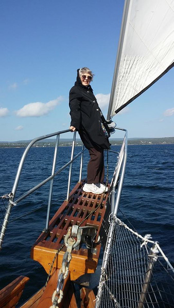 Vera Marie Badertscher on the Amoeba sailing Bras D'or Lake in Nova Scotia. What a fun boomer travel adventure!