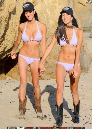 beautiful twins swimsuit models cowgirls