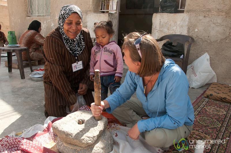 Audrey Tries to Grind Wheat with an Al Raha - Zikra Initiative, Jordan
