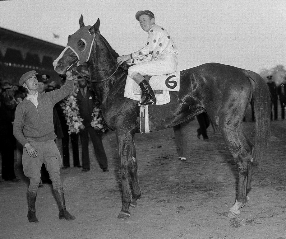 . 1935: OMAHA - Jockey Willie Saunders sits atop Omaha, after after winning the Preakness Stakes at Pimlico Race Course in Baltimore, Md., in 1935.  (AP Photo)