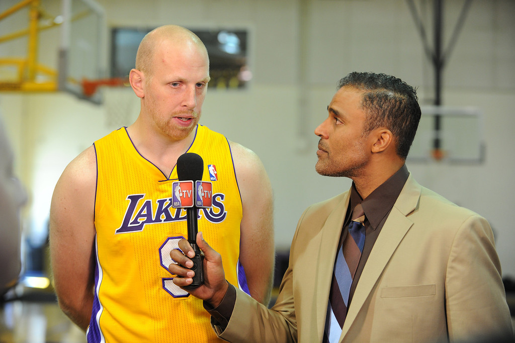 . Chris Kaman is interviewed by NBA TV Rick Fox. The Los Angeles Lakers held a media day at their El Segundo practice facility. Players were photographed for team materials, and interviewed by the press. El Segundo, CA. 9/27/2013. photo by (John McCoy/Los An8eles Daily News)