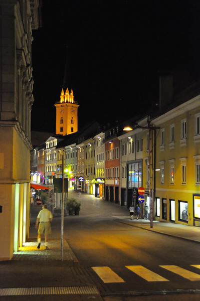 Villach at night with a rare, quiet town square