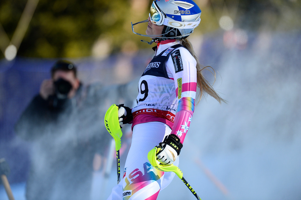 . BEAVER CREEK, CO - FEBRUARY 9: Lindsey Vonn, of the United States, reacts to hitting a gate  during competes the Women\'s slalom portion of the women\'s alpine combined race at the FIS Alpine World Ski Championships in Beaver Creek, CO. February 9, 2015. She was unable to finish the race. (Photo By Helen H. Richardson/The Denver Post)