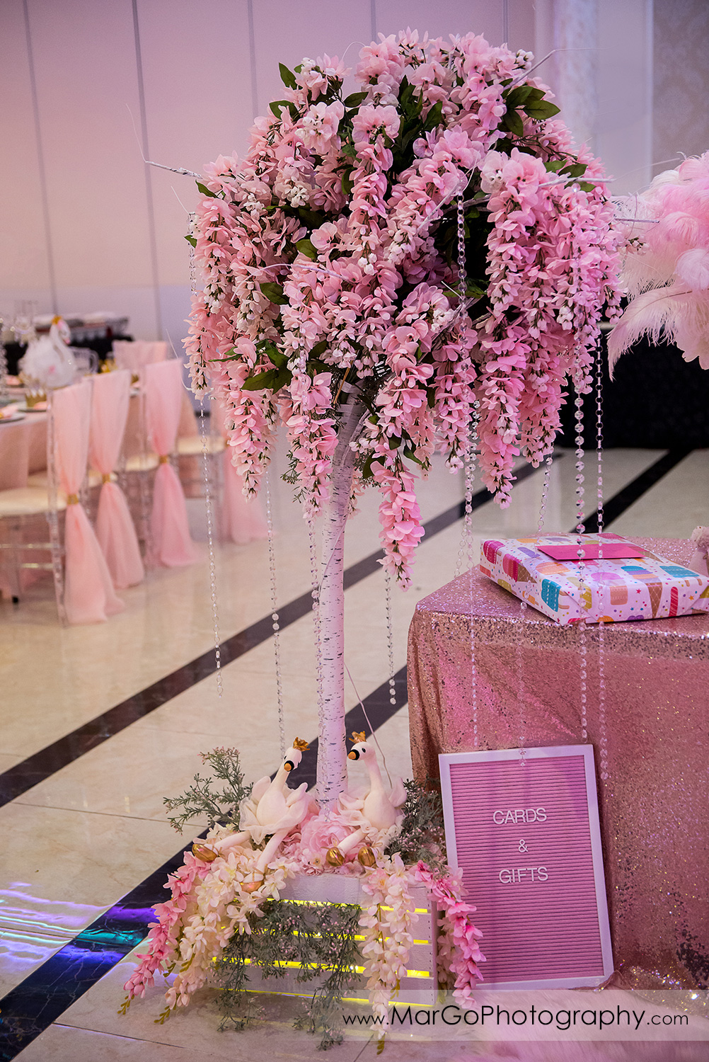 pink flower tree decor at Newark Oasis Palace