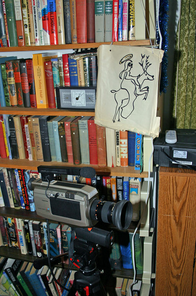 video camera and reindeer sign