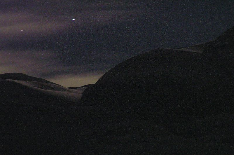 Pictures of Mt Elie De Beaumont and the Hochstetter Dome at night.