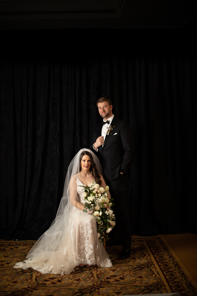 Lizzie and Craig's formal portraits at their New Year's Eve wedding in Washington DC.  A classic bridal portrait.