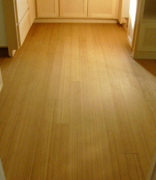 """July 3 - my friend Shelly and I have laid the bamboo flooring.  This material is 5/8"""" thick, tongue & groove, and very easy to work with.  We did 85% of the kitchen in a day."""