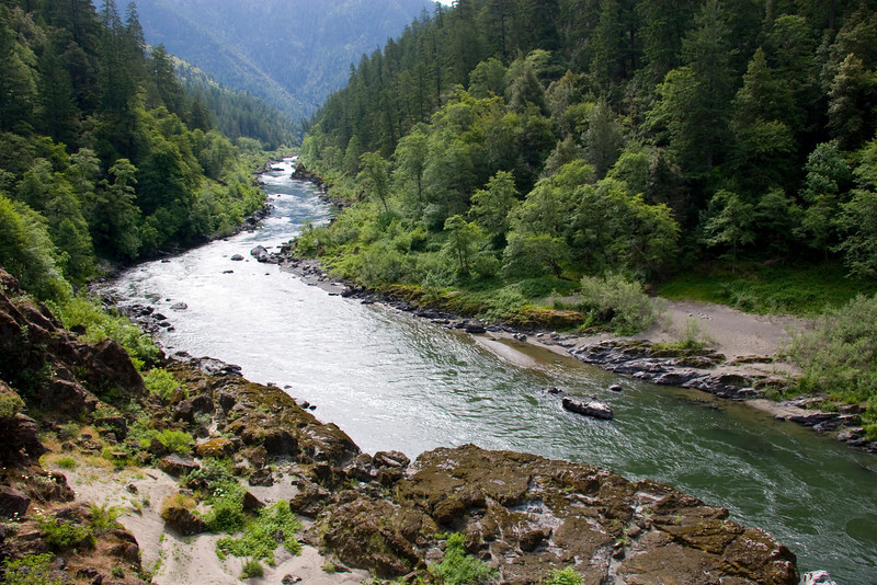 Looking upstream from the Rogue River Trail onto Dulog Rapid and Camp.