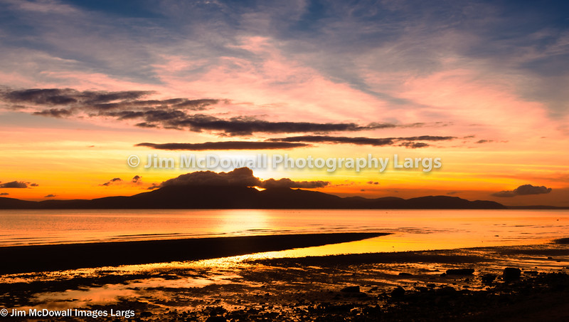 Arran on Fire at Sunset.