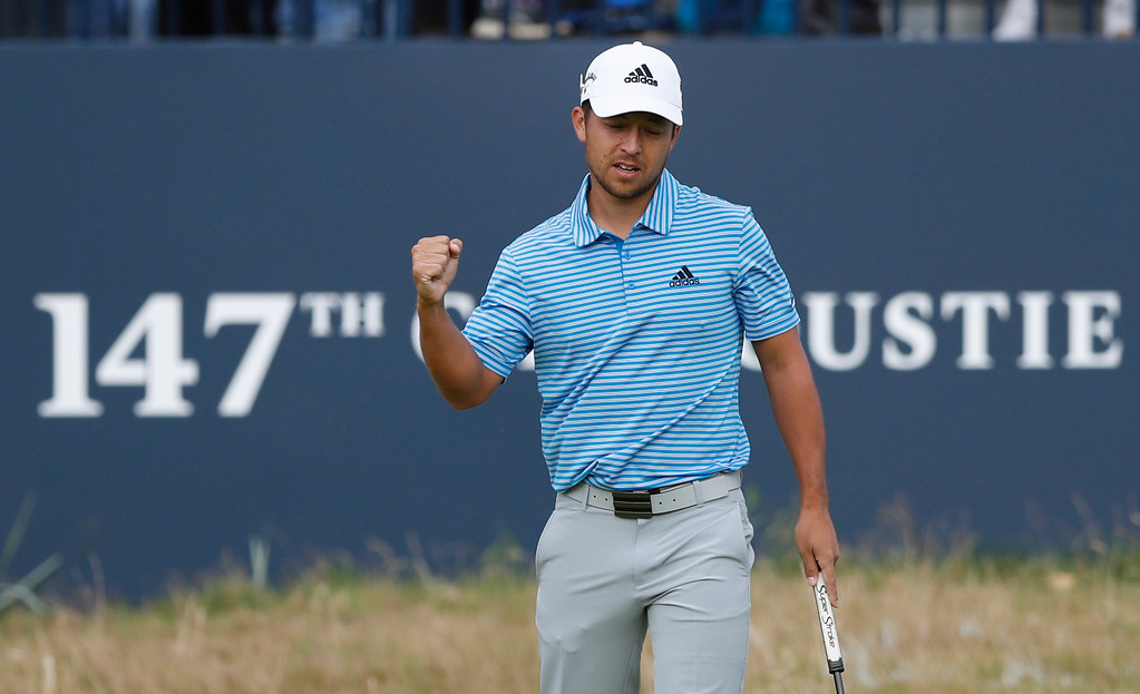 . Xander Schauffele of the US after a birdie on the 18th hole during the third round of the British Open Golf Championship in Carnoustie, Scotland, Saturday July 21, 2018. (AP Photo/Alastair Grant)