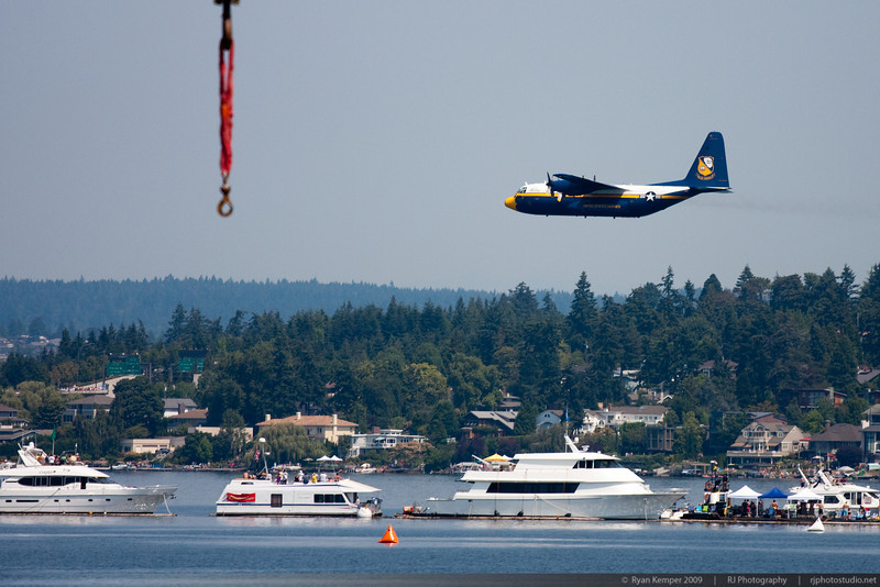 """""""Fat Albert"""" begins to ascend over the log boom just prior to demonstrating its short takeoff capabilities during the Key Bank Airshow on Sunday."""
