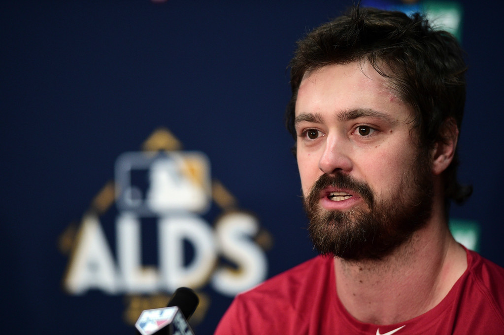 . Cleveland Indians relief pitcher Andrew Miller answers questions during a news conference before Game 2 of baseball\'s American League Division Series between the New York Yankees and the Cleveland Indians, Friday, Oct. 6, 2017, in Cleveland. (AP Photo/David Dermer)