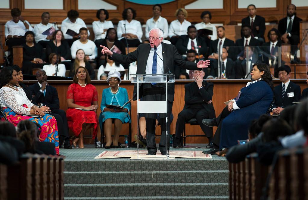 . Vermont Sen. Bernie Sanders speaks during the Rev. Martin Luther King Jr. holiday commemorative service at Ebenezer Baptist Church, Monday, Jan. 16, 2017, in Atlanta. (AP Photo/Branden Camp)