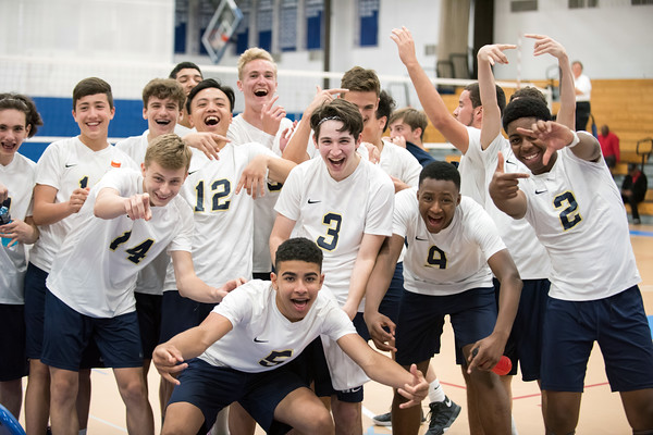 06/04/18 Wesley Bunnell | Staff Newington volleyball defeated South Windsor 3-0 in a game played at Glastonbury High School on Monday evening. Kristian Kujawa (14), Al Chan (12), Keenan Esau (5), Evan Metzger (3), Collin Liedke (4) and Louis Egbuna (2).