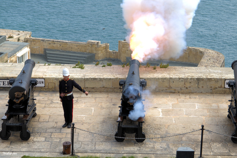 Midday gun firing at the Saluting Battery in Valletta, Malta. March 23, 2019 This work is licensed under a Creative Commons Attribution- NonCommercial 4.0 International License