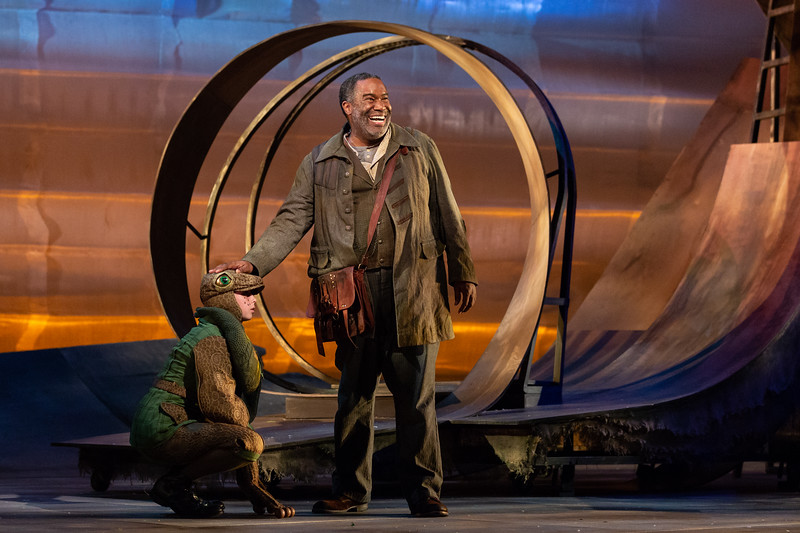 """Emma Novak as the Frog and Eric Owens as the Forester in The Glimmerglass Festival's 2018 production of Janáček's """"The Cunning Little Vixen."""" Photo: Karli Cadel/The Glimmerglass Festival"""
