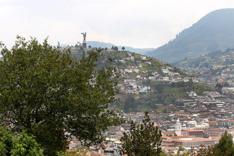 """The winged Madonna, """"Virgin de Quito"""" atop El Panecillo hill."""