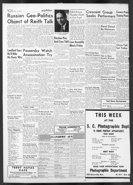 Daily Trojan, Vol. 42, No. 34, November 02, 1950