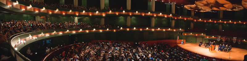 Dr. David Blanke during his keynote address at the First year Islander Convocation in the Performing Arts Center.