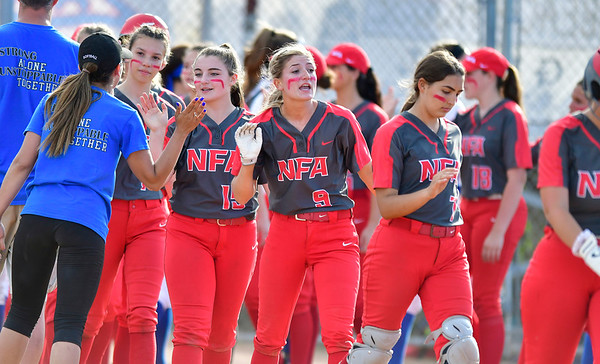6/8/2019 Mike Orazzi | Staff NFA girls after a loss to Southington during Saturday's Class LL Softball Final at DeLuca Field in Stratford.