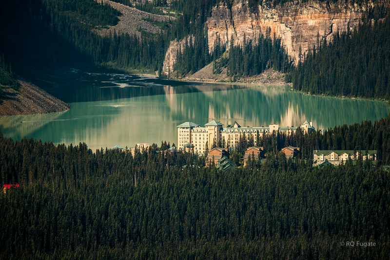 Lake Louise as seen from the Lake Louise ski lift summit. Shot through a 600 mm lens and cropped.