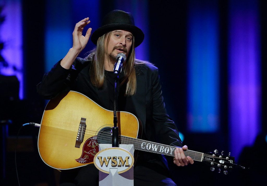 . Kid Rock speaks during the funeral for country music star George Jones in the Grand Ole Opry House on Thursday, May 2, 2013, in Nashville, Tenn. (AP Photo/Mark Humphrey, Pool)