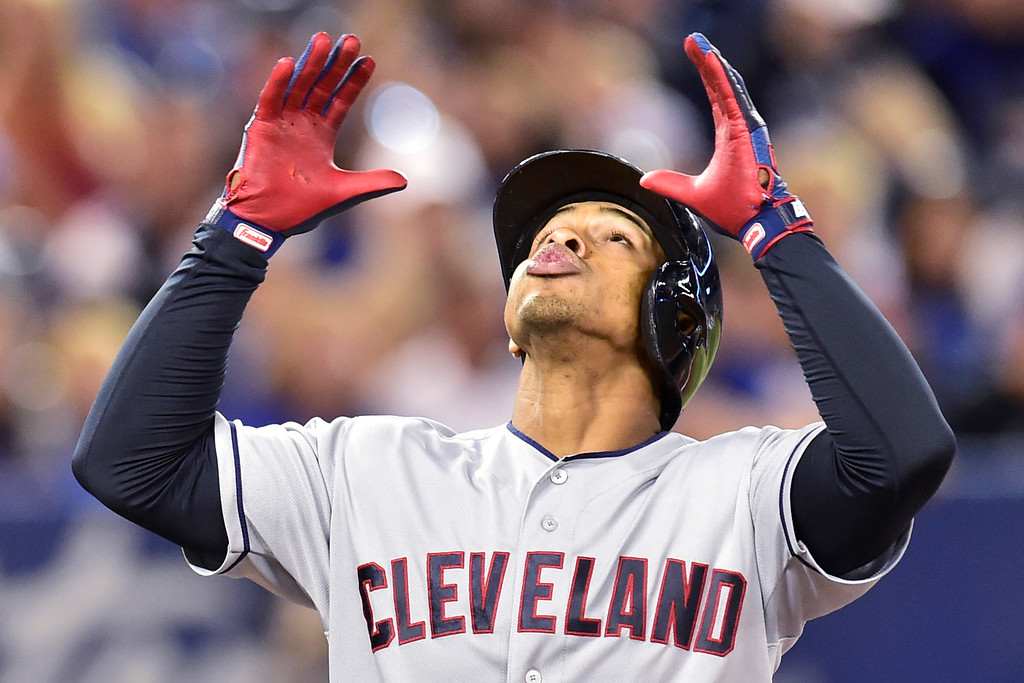 . Cleveland Indians\' Francisco Lindor celebrates his solo home run against the Toronto Blue Jays during third-inning baseball game action in Toronto, Sunday, Sept. 9, 2018. (Frank Gunn)