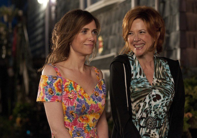 ". ""Bridesmaid\'s\"" Kristen Wiig (left) fakes suicide to jump start her playwright career and gets put in custody of her gambling-addicted mom Annette Bening in \""Girl Most Likely,\"" in theaters July 19."