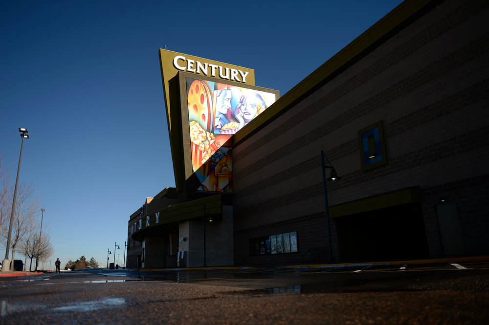 Description of . Aurora , CO. - January 17: The Century Aurora Theater before the reopening and remembrance for the victims where suspect James Holmes is accused of killing 12 people and wounding 70 others onFriday, July 20, 2012 in Aurora, Colorado, January 17,  2013. (Photo By Joe Amon / The Denver Post)
