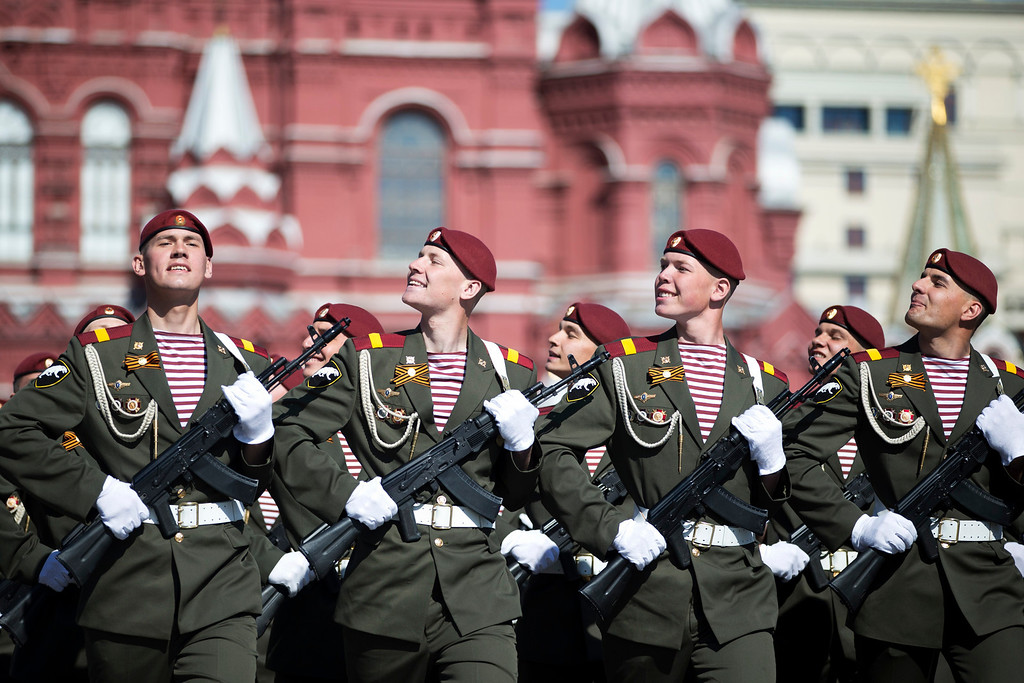 . Russian troops march during the Victory Day parade in Red Square in Moscow, Russia, Friday, May 9, 2014.   (AP Photo/Pavel Golovkin)