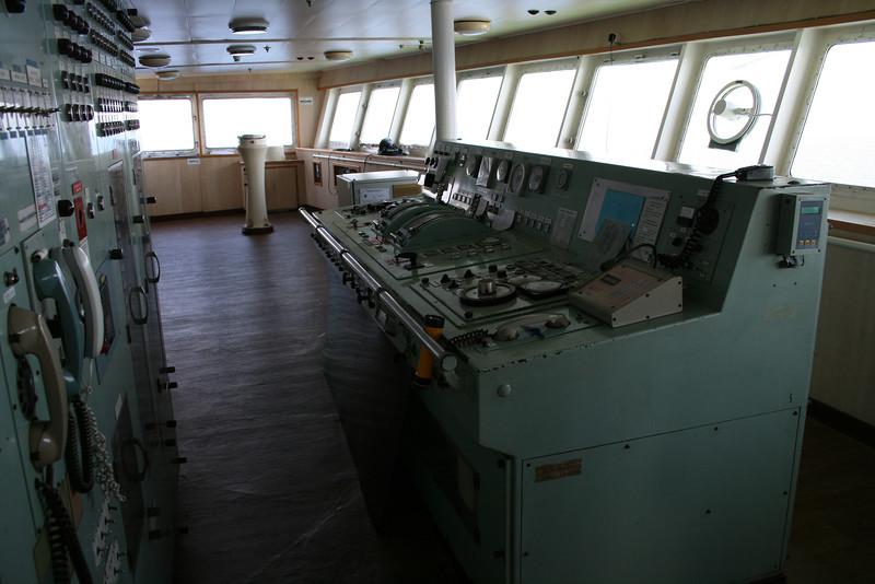 2010 - On board F/B IONIAN SKY : the bridge, engine controls.