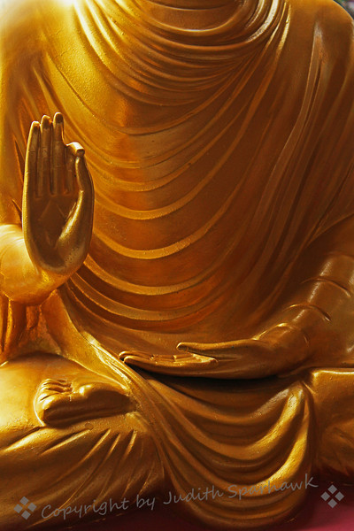 Hands of Peace ~ This is detail of a gilt statue at Hsi Lai Temple in Hacienda Heights, California.  It is the largest Buddhist Temple and Monastery in North America.  There are many gardens, statues and flowers.  This statue particularly appealed to me.