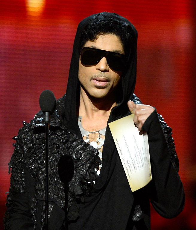 . Musician Prince speaks onstage at the 55th Annual GRAMMY Awards at Staples Center on February 10, 2013 in Los Angeles, California.  (Photo by Kevork Djansezian/Getty Images)