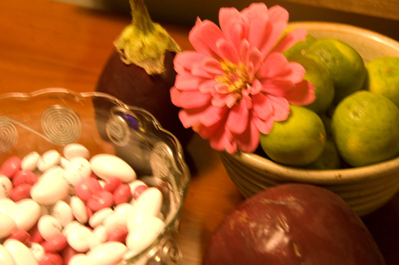 Poor photo, but included so you could see the cute m&m's Wanda had created especially for Katie and Dee with wedding wishes imprinted.