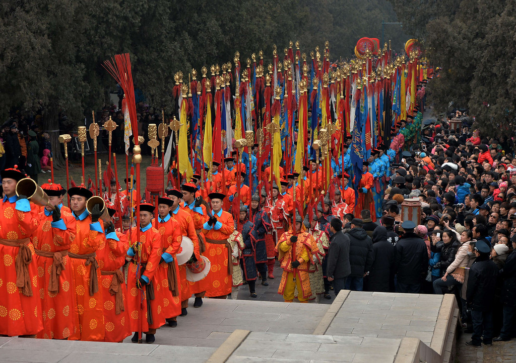 . Chinese performers take part in a traditional Qing Dynasty ceremony in which emperors prayed for good fortune, during Lunar New Year festivities at the Temple of Heaven in Beijing on January 31, 2014.      AFP PHOTO/Mark RALSTON/AFP/Getty Images