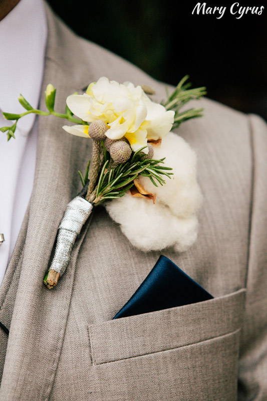 Boutonnière with nontraditional elements, including cotton - perfect for a wedding at the McKinney Cotton Mill! | Photo by Mary Cyrus Photography - Weddings & Portraits in Dallas & Beyond