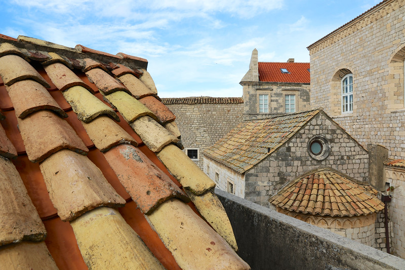 During the siege of 1991 many of the rooftops were destroyed and have since been replaced.  The newer bright orange-red ones stand in stark contrast to the older ones.