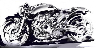 Motorcycle drawings and paintings
