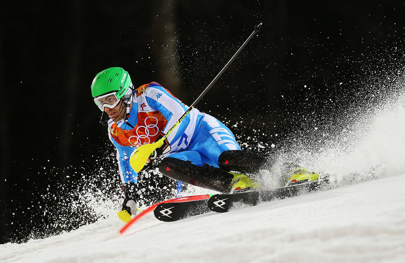 . Stefano Gross of Italy in action during the Men\'s Slalom during day 15 of the Sochi 2014 Winter Olympics at Rosa Khutor Alpine Center on February 22, 2014 in Sochi, Russia.  (Photo by Doug Pensinger/Getty Images)
