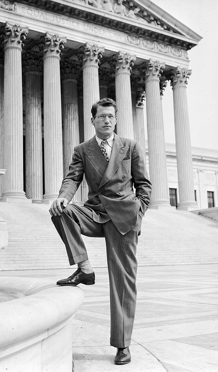 . Byron White, former running back on the University of Colorado football team, is seen posing in front of the U.S. Supreme Court building in Washington, September 19, 1946, following his appointment as a law clerk to Chief Justice Fred M. Vinson.  (AP Photo)