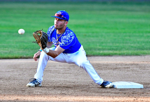 7/5/2019 Mike Orazzi | Staff The Bristol Blues's Brogan Searle-Belanger (17) Friday night at Muzzy Field.