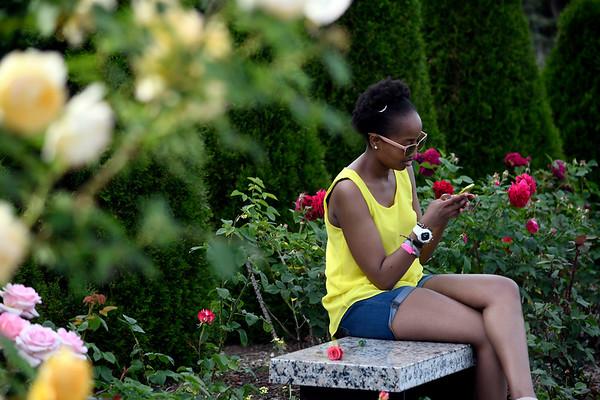 6/16/2018 Mike Orazzi | Staff Damaris Thuita while enjoying the fifth annual New Britain Rose Garden Festival Saturday evening in Walnut Hill Park.
