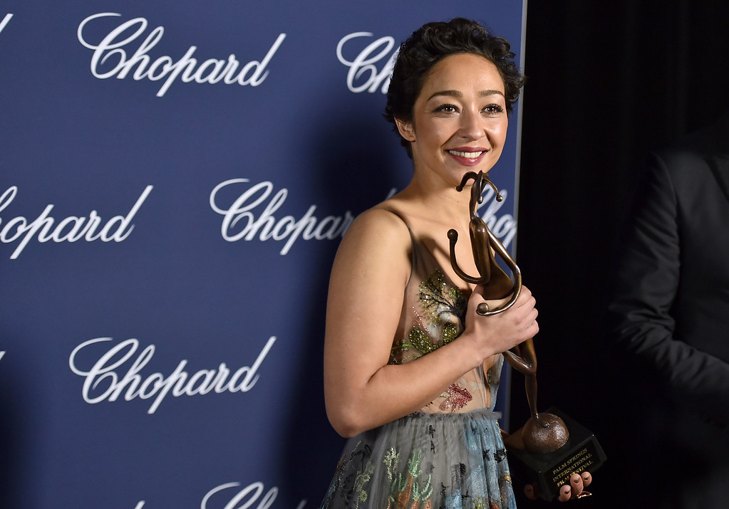 ". Ruth Negga poses backstage with the award for rising star for ""Loving,\"" at the 28th annual Palm Springs International Film Festival Awards Gala on Monday, Jan. 2, 2017, in Palm Springs, Calif. (Photo by Jordan Strauss/Invision/AP)"