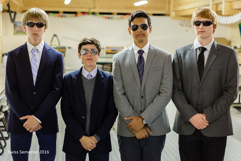 Bennitt, Hunter, Neel, and Lachlan looking like a secret service detail